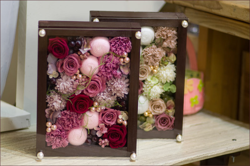 プリザと造花のボックスフラワー【エチュード】